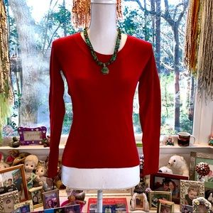 🌻 LOFT Ribbed Knit Top in Red 🌻